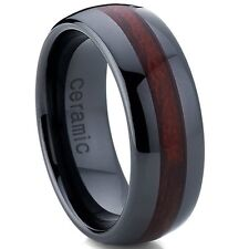 Unisex Dome Black Ceramic Ring Wedding Band With Wood Simulant Inlay