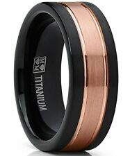Titanium Ring Wedding Band, Rose Tone Black Brushed Engagement Ring, Grooved, Co