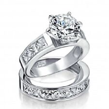 Sterling Silver 2ct Round CZ Princess Engagement Wedding Ring Set Love Vow Ring