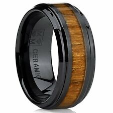 Black Ceramic Beveled Edge Wedding Ring Band with Real Koa Wood Inlay, 9MM Comfo