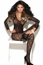 Long-Sleeve Lace Bodystocking See-Through Sheer Black Floral Full-Length Plunge
