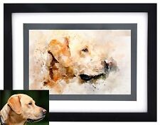 CUSTOM PRINTED & FRAMED Pet Portrait Watercolor Art from Your Photograph on Wall