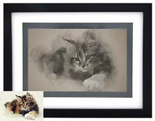 CUSTOM PRINTED & FRAMED Pet Portrait PENCIL Art from Your Photograph Wall/ Table
