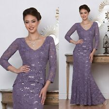 Purple Mother Of The Bride Dress Lace Applique 3/4 Sleeve Evening Gowns Mermaid