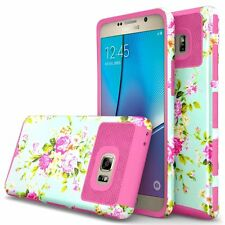 Hybrid Hard Grid Armor Case Skin Flower Phone Cover For Samsung Galaxy Note 7