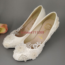 Wedding shoes Lace white crystal Bridal shoes flats low high heel pump size