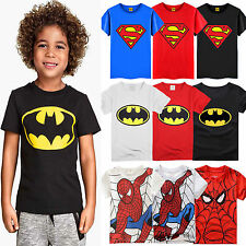 Kids Baby Boys Cotton Batman Superman Spiderman T-shirts Superhero Top Shirt