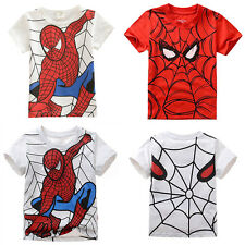 Baby Kids Boys Clothes Short Sleeve Spiderman Costume Tee Tops Shirt T-Shirt