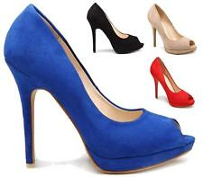 LADIES STILETTO HIGH HEEL PLATFORM PARTY PEEPTOE PUMPS WOMENS COURT SHOES SIZE