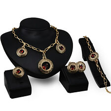 Lady Gold Plated Circle Pendant Necklace Bracelet Ring Earrings Jewelry Set Tidy