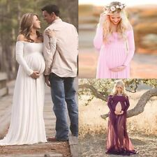 US Chiffon Gown Maternity Maxi Dress Wedding Party Dresses Photography Prop