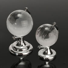 4/5cm Crystal Glass Frosted World Globe Paperweight & Stand Christmas Xmas Gift