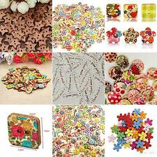 100x Star Heart Flower 2 Holes Wood Sewing Craft Scrapbooking DIY Buttons Luxury