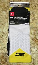 UNDER ARMOUR UA SC30 Drive Curry White Black Yellow Basketball Crew Socks Mens L