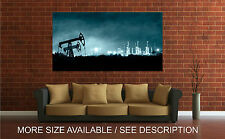 Wall Art Canvas Print Picture Pump Jack Grangemouth Refinery at Night-Unframed
