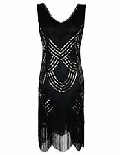 PrettyGuide Women's 1920s Gatsby Art Deco Beads Fringed Cocktail Flapper Dress