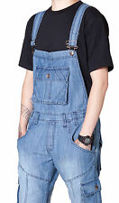 Peviani Dungarees with Turn Up - Light Blue Mens Womens Denim Dungarees Bib Over