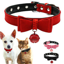Soft Suede Leather Pet Puppy Dog Collars with Bell for Small Dog Chihuahua XXS-M