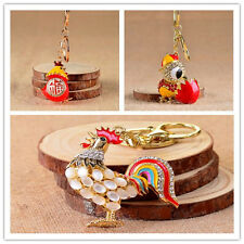 Pretty Car Keychains Key Chains Enamel Crystal New 1Pcs Cock Pendant Chicken Egg