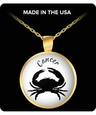 Gold Plated Custom Made Cancer Horoscope Sign Pendant Necklace With 22 In Chain