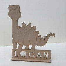 MDF Wooden Craft Shape Blank DINOSAUR on Stand ADD YOUR NAME 3 Designs