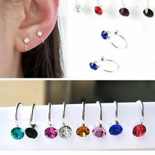 Silver Plated Rhinestone Ear Cuff Clip Cartilage clip-on earring upper helix UK