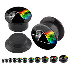 Pair of Pink Floyd Logo Black Acrylic Screw Fit Plugs Ear Flesh Tunnels 4g-1""