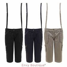NEW WOMENS LADIES DUNGAREE 3/4 CAPRI CARGO PANTS SHORT TROUSERS WITH BRACES