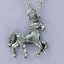 Horse Necklace - Pewter Charm on Cable Chain Equestrian Ride Trail Ranch NEW