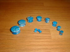 """5 pair 2g-1 Inch Acrylic Blue Marble Saddle Plugs """"Choose Your Size"""""""