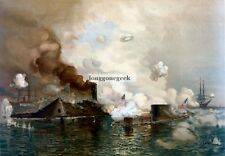 The Monitor and The Merrimack, Davidson New Giclee Art Print Poster US Civil War