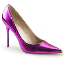 Purple Metallic 80s Club Pumps Pointy Toe Mens Drag Queen Heels Shoes size 13 14