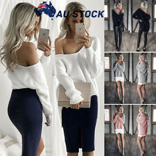 Plus Size Womens Ladies Off Shoulder Chunky Knit Baggy Sweater Jumper Loose Tops