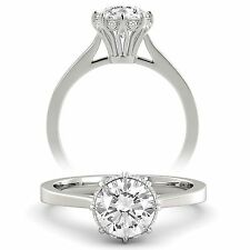 1.30 tcw Round Cut Natural Diamond GIA Certified Engagement Ring 14k White Gold