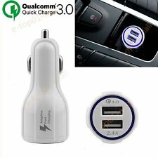 Quick Car Charge QC3.0 Dual USB Port Fast Car Charger For Samsung 12-24V White