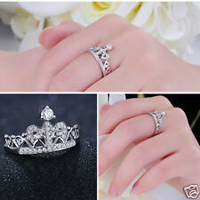 Women Charming Jewelry Princess Environmental Copper Crown AAA Zircon Ring New