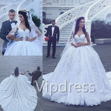 Empire Straps Sweetheart Wedding Dresses Lace Applique Bridal Ball Gowns Custom