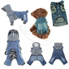 Jeans Pet Dog Puppy Jacket Coat Clothes Poodle Strap Jumpsuit Clothes Apparel