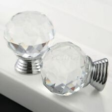 Clear 30mm Knobs Pulls Crystal Glass Cabinet Drawer Door 1/12Pcs Round Handles