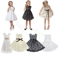 Flower Girl Lace Dress Princess Kids Pageant Party Dance Wedding Birthday Gown