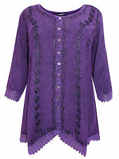 Womens plus size 18 to 30 top purple romantic embroidered button thr 3/4 sleeve