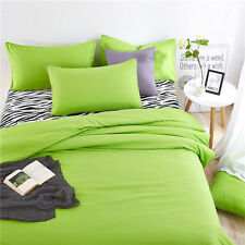 Green Single Queen Size Bed Set Pillowcase Quilt Duvet Cover Zebra FitUS