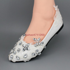 White flat ballet lace flowers crystal Wedding Bridal shoes Bridesmaid shoes