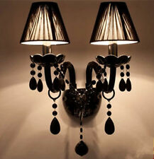 Black glass led candle wall sconce fixtures bedside Mirror wall lamps shade