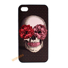 Sugar Skull Flower Brown Hard Clear Case Cover Skin for Apple iPhone 4 4S 5 5S
