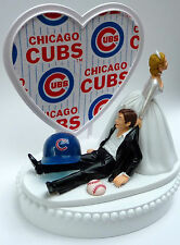 Wedding Cake Topper Humorous Chicago Cubs Themed Baseball Sports Bride Groom Fan