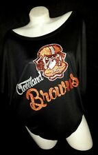 Cleveland Browns Black Flowy Draped Sleeve Dolman Tee. Up to 2XL