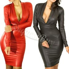 Sexy Womens Plunging V-neck Long-sleeve Club Cocktail Faux Leather Dress M L