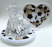 Wedding Cake Topper Soccer Themed Clear Couple Dancing Sports Fans Bride Groom