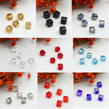 Spacer Beads 4mm/6mm Square Crystal DIY Faceted Loose Glass 10Pcs Cube